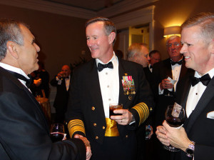 US special operations commander, Adm. William H. McRaven, greets guests at the annual OSS Society dinner, where he was honored with the William J. Donovan Award. Photograph by Carol Ross Joynt.